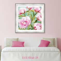 Pink Peonies large framed art over a sofa with soft pink walls. This artwork would be perfect in a shabby chic, cottage style office waiting room. Pink peony artwork by Beverly Brown. Large Framed Art, Framed Wall Art, Wall Art Decor, Cottage Style Living Room, Living Room Decor, Feminine Office Decor, Peony Painting, Pink Office, Living Room Color Schemes