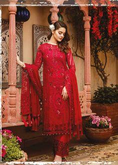 Imrozia Grandeur Ecstasy Luxus Eid Chiffon Kollektion 2019 - 709 The Heartthrob Red - Designer Dresses Short Pakistani Party Wear, Pakistani Dress Design, Pakistani Designers, Pakistani Suits, Pakistani Dresses, Punjabi Suits, Salwar Kameez, Red Salwar Suit, Kurti