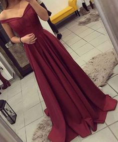 prom dress,prom dresses,Off The Shoulder Burgundy Prom Dress,Satin Party Dresses Long,Evening Gown,Long Prom Dresses 2017