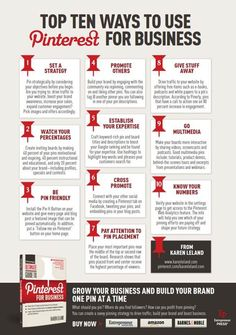 10 manieren om #Pinterest zakelijk in te zetten. 'Top ten ways to use Pinterest for business'. #infographic based on 'The ultimate guide to Pinterest for business' by Karen Leland.