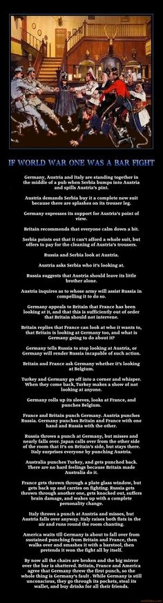 IF WORLD WAR ONE WAS A BAR FIGHT : I actually didn't know where to pin this.