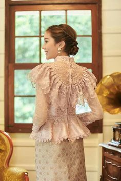 Items similar to Pikulraht Thai shirt stly( only shirt) on Etsy Kebaya Lace, Kebaya Hijab, Kebaya Modern Hijab, Traditional Fashion, Traditional Dresses, Model Dress Kebaya, Kebaya Wedding, Dress Wedding, Hijab Dress Party