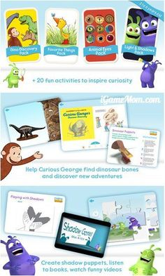 Free app encouraging curiosity - featuring Curious George, Izzy and Max. #kidsapps