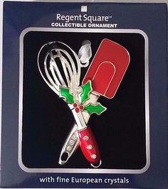 Regent Square SPATULA & WHISK Collectible Ornament w/Fine European Crystals