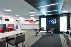 Office Tour: Lenovo's UK Head Office Cafe and Presentation Spaces Fun Office Design, Workplace Design, Cool Office, Adobe, Visual Merchandising, News Cafe, Branding, Design Furniture, Stores