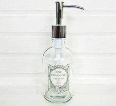 Glass Soap Dispenser Subtle Vintage French Label Lotion Dispenser Kitchen Soap Dispenser Stainless /Nickel Chrome Bronze Copper Soap Pump