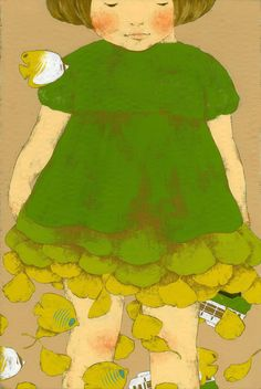 little green girl, unknown artist (try doing this but with fish instead of leaves falling away)