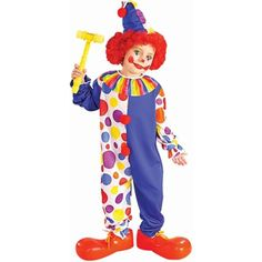 Our Child's Classic Clown Costume is the ideal Child's Clown Costume. For a fun family or group costume idea consider any of our Clown Costumes for any age. - Clown suit with attached collar - Clown h