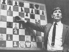Bobby Fisher with board and tie.