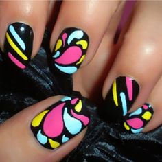 25 Cool Colorful Nail Art Ideas love the bright colors Funky Nails, Neon Nails, Love Nails, Pretty Nails, My Nails, Bright Nails, Sassy Nails, Style Nails, Nailart