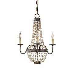 Feiss F2755/3PBR Charlotte 3-Light Chandelier in Peruvian Bronze Finish in Other, Bestsellers, Best Selling Chandeliers: LeeLighting.com