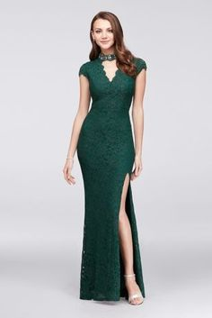 A dazzlingly beaded cutout neckline adds an uniquely elegant touch to this cap-sleeve, glitter lace mermaid gown. By City Triangles Nylon, polyester, spandex Back zipper; fully lined Hand wash Imported Also available in plus size Best Formal Dresses, Informal Wedding Dresses, Formal Dresses With Sleeves, Lace Mermaid, Mermaid Gown, Gala Dresses, Event Dresses, Davids Bridal, Moda Formal