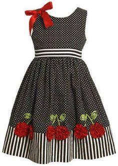 Bonnie Jean Little Girls' Dress with Dots and Stripes, Black/White, 5 – roupas de princesas Little Dresses, Little Girl Dresses, Girls Dresses, Little Girl Fashion, Fashion Kids, Women's Fashion, Toddler Dress, Baby Dress, Toddler Girls