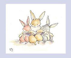 Cozy Reading Trio. PRINT 8X10. Nursery Art Wall by LoxlyHollow