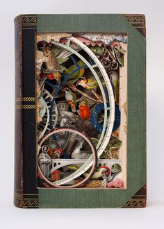 Alexander Korzer-Robinson creates book sculptures by cutting around some of the illustrations while removing others. Brockhaus 15, 1904