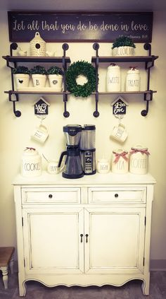 My new Coffee Bar featuring some of my Rae Dunn collection.