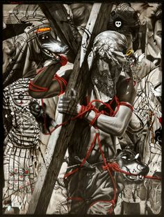 Ronald Ventura 'Armor' 2014 graphite and oil on canvas 48 x 36 inches. Image courtesy the artist and Tyler Rollins Fine Art. Philippine Art, American Cartoons, Hieronymus Bosch, Venice Biennale, Identity Art, Hyperrealism, Arts Ed, Old Master, Religious Art