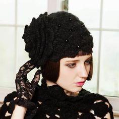 0c07a03b1b6 Large flower knit beanie hat for women fashion warm winter crochet beret  hats