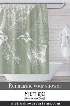 Immerse yourself in the New England woods with these honeysuckle leaves, for a soothing, cool green botanical bathroom feel. Who wouldn't want to disappear behind these leaves for a bit? What a great way to bring a large-format art print into your home!