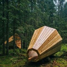 These are cool! Wood gramophones in nature