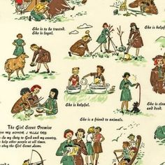 Vintage Style Girl Scout Fabric by Robert by sentimentalbaby
