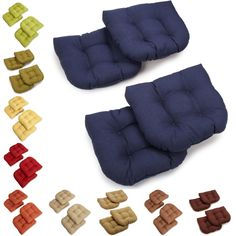 Upgrade your patio or garden furniture with these plush outdoor chair cushions. Each cushion is designed with a U-shape and upholstered in brightly-colored, all-weather fabric, so you can add comfort and style without worrying about water damage.
