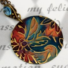 Dragonfly Pendant Necklace Embossed Brass Copper Teal by BrassLass
