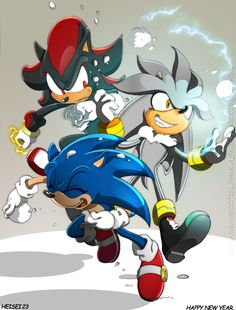 Sonic, Shadow, and Silver playing in the snow - WOW, a snowball fight with these three would be EPIC.