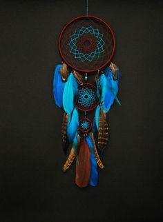 Dreamcatcher blue clouds, Indian talisman, dream catcher