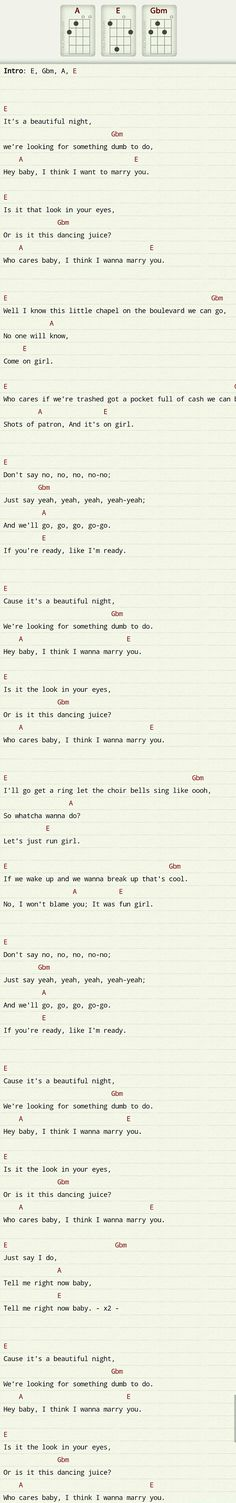 """Marry You,"" Bruno Mars Ukulele chords - Capo 1 or 2 - Works with D, Em, G."