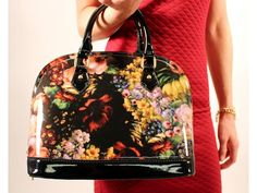 Floral Patent Leather Handbag