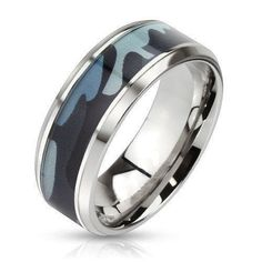 Blue Camouflage Stainless Steel Ring $15 http://www.sixshootergiftshop.com/collections/view-all-of-our-rings/products/blue-camouflage-stainless-steel-ring
