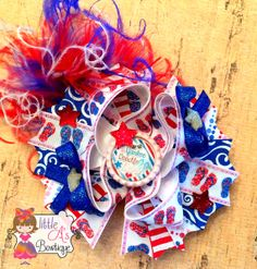 Yankee Doodle Diva 4th of July OTT bow by LittleAsBowtique on Etsy, $15.50