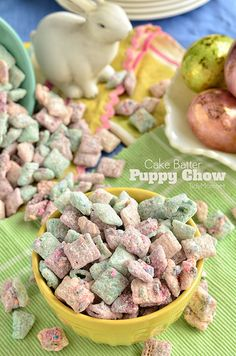"Cake Batter Puppy Chow"" snack mix #recipe for #Easter #Treats and #Snacks"