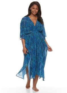 c6fd77d7aea21 Plus Size Beach Scene Geometric Caftan Cover-Up Beach Scenes