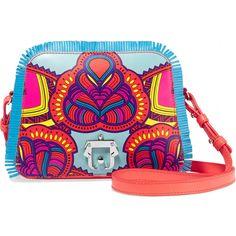 Paula Cademartori Didi fringed printed leather shoulder bag ($985) ❤ liked on Polyvore featuring bags, handbags, shoulder bags, red, real leather handbags, fringe purse, leather purse, red shoulder bag and red handbags