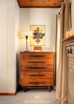 Here is a little peek at the portfolio of San Francisco interior designer Rachel Blindauer . Mad Men Interior Design, Residential Interior Design, Contemporary Bedroom, Contemporary Furniture, Modern Bedroom, Pine Walls, Dresser As Nightstand, Walnut Dresser, Home Bedroom