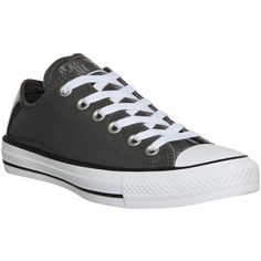 Converse All Star Low ($36) ❤ liked on Polyvore featuring shoes, sneakers, converse, trainers, charcoal patent, unisex sports, low top, converse shoes, low shoes y rubber sole shoes