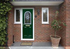 Green composite door with attractive glass panel Best Front Door Colors, Best Front Doors, Green Front Doors, Beautiful Front Doors, Back Doors, Porch Plants, Red Brick Walls, Composite Door, Red Bricks