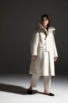 2020-21 A/W 011, Water-repellent Wool Melton Military Parka   DRC-C02-105F, Cotton Cashmere Jersey Bound Seam T-shirt   DRC-T01-010, Wool Herringbone Jacquard Jersey Tapered Easy Pants    DRC-P10-111 Military Parka, Herringbone, Cashmere, Raincoat, 21st, Normcore, Wool, Cotton, Pants