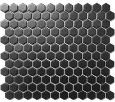 "Roca CC Mosaics Matte Black Hexagon 1X1 Mosaic 12""X12"""