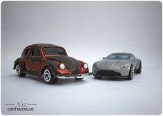 Diecast VW1300 Maisto vs Aston Martin DB10 Hot Wheels scale 1:64