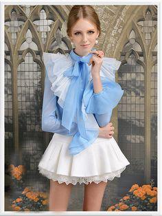 Morpheus Boutique - Baby Blue Flare Sleeve Bow Layer Hemline Ruffle Shirt