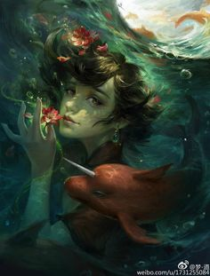 Répertoire Image Fantasy - Page 102 Art And Illustration, Mermaid Pictures, Natsume Yuujinchou, Mermaids And Mermen, Animation, Wolf, Portrait Art, Chinese Art, Painting Inspiration