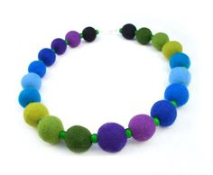 Felted Necklace Felt collar Rainbow Collar Blue Collar by filcant