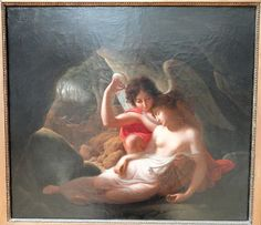 Cupid Awakens Psyche with the Tip of his Arrow, Christian Gottlieb Kratzenstein (1815) #art #amoreepsiche #enicultura