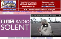 BBC Radio interview Private Investigator Olivia Ellenger before her talk to #Basepoint Bournemouth Business Hub tomorrow:  http://www.answers.uk.com/admin/bbcradiosolentoebsept150121.htm  http://www.answers.uk.com/newsfull/basepointbmth150122.htm  T: 01202 366156