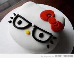 Nerdy hello kitty cake!!! I can't wait to break out my Hello Kitty cake pan. I'm totally making this. I'll probably just buy fondant rather than making it myself, but I'm totally doing this! :D Perhaps nerdy Hello Kitty cookies, too!