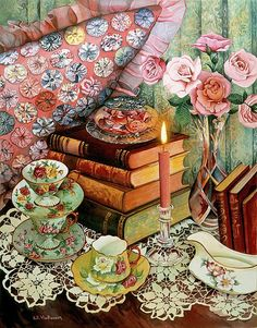 tea cups and doily fine art painting