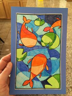 Link leads to step by step guide, with photos. Matthews Fine Art: First Friday Art Class for April 2015 - Line and Color.and Koi Fish Classe D'art, 6th Grade Art, Middle School Art, High School, School Art Projects, Wow Art, Art Lessons Elementary, Elements Of Art, Fish Art